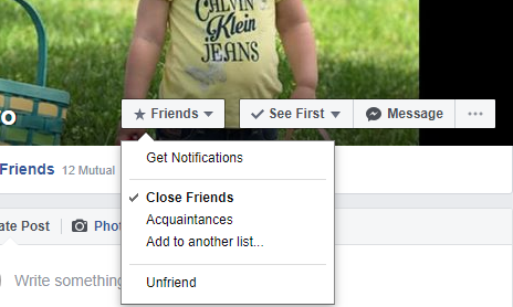 A picure showing the three buttons on a Facebook profile page which demonstrates how to add a friend to a list