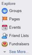 The Explore menu with the Friend Lists menu item to click.