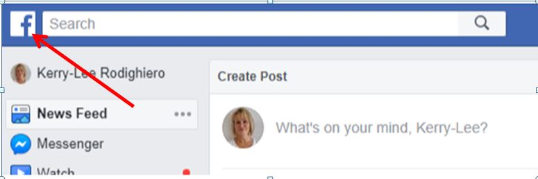 A red arrow points to the Facebook home button, which is the Facebook 'F' logo on the top left hand side of your Facebook profile.