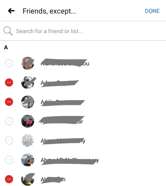 select friends to exclude